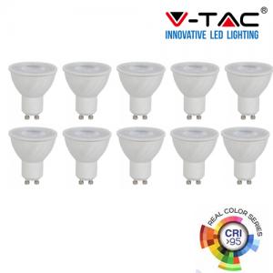 10 V-TAC VT-2206 LAMPADINE LED GU10 6W FARETTO SPOTLIGHT CRI ≥95 - SKU 7497 / 7498 / 7499