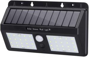 LAMPADE SOLARI DA GIARDINO FARETTO SOLARE LED PER ESTERNO CON SENSORE DI MOVIMENTO  IP65 E 3 MODALITÀ DI ILLUMINAZIONE