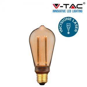 LAMPADA LED FILAMENTO VINTAGE V-TAC 4W  E27 LUCE CALDA LAMPADINA AMBRA VT-2185