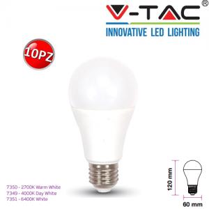 10 LAMPADINE LED V-Tac E27 Bulb A60 Goccia 11W Opaca Luce 2700K 4000K 6400K Vtac