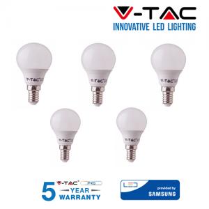 5 LAMPADINE LED V-Tac Bulbo MINIBULBO E14 da 7W Lampade Luce Calda Naturale Fredda
