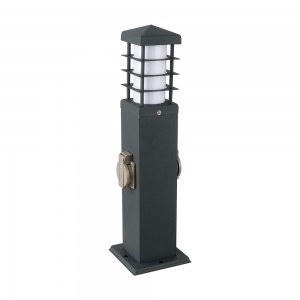 LAMPIONE LAMPIONCINO DA ESTERNO 2 PRESE SCHUKO  PALO ILLUMINAZIONE GIARDINO 45CM 220V-GRIGO