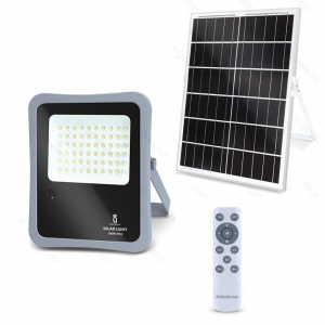 FARO ENERGIA SOLARE LED CON PANNELLO FARETTO CREPUSCOLARE + TELECOMANDO AIGOSTAR-100w