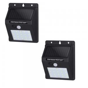 2 LAMPADE SOLARI DA GIARIDNO FARETTO SOLARE LED PER ESTERNO CON SENSORE DI MOVIMENTO IP65 120 GRADI